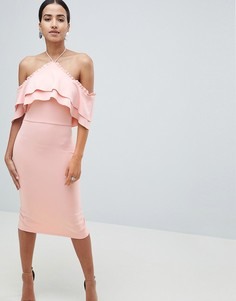 Платье миди с халтером и оборками True Violet - Розовый