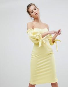 Платье миди с широким вырезом и завязками на рукавах True Violet - Желтый