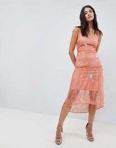 Кружевное платье на бретельках с вышивкой Hope & Ivy - Оранжевый