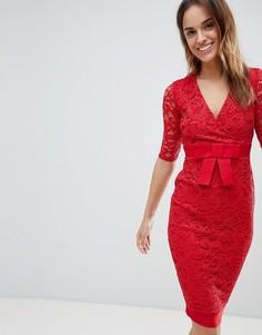 Кружевное платье-футляр Vesper - Красный