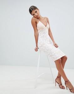 Кружевное платье миди Girl In Mind - Розовый