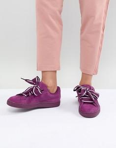 Замшевые фиолетовые кроссовки на платформе Puma - Фиолетовый