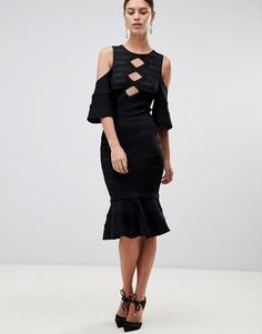 Платье с оборкой на подоле Forever Unique - Черный
