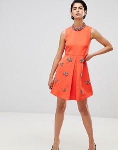 Свободное платье с отделкой Forever Unique - Оранжевый