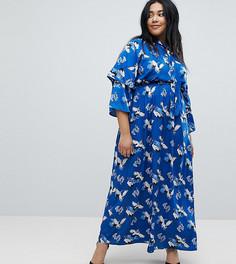 Платье макси с оборками и принтом Yumi Plus - Синий