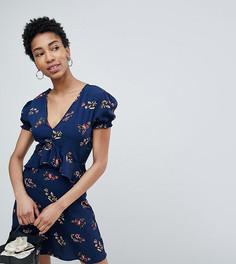 Чайное платье с оборками и цветочным принтом Influence Tall - Темно-синий