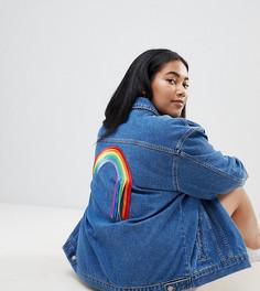 Джинсовая oversize-куртка с отделкой разноцветными лентами на спине Chorus Plus - Синий