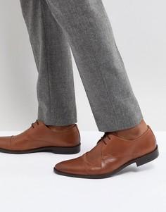 Светло-коричневые кожаные дерби со вставкой на носке Frank Wright - Рыжий