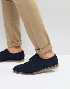 Темно-синие замшевые туфли на шнуровке Frank Wright - Темно-синий