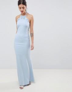 Платье макси с завязкой на шее и цветочной отделкой City Goddess - Синий