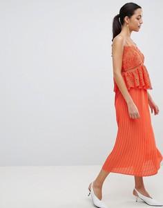 Платье миди с кружевом и плиссировкой Liquorish - Оранжевый