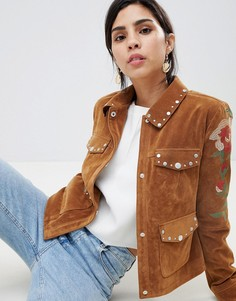 Куртка с заклепками и контрастной вышивкой Urbancode - Рыжий