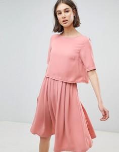 Короткое приталенное платье 2 в 1 Ichi - Розовый