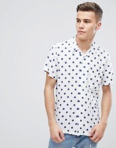 Рубашка в винтажном стиле с принтом в горошек D-Struct - Темно-синий