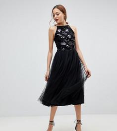 Тюлевое платье с отделкой пайетками Little Mistress Tall - Бежевый