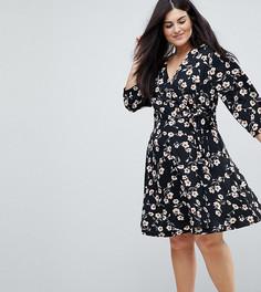 Платье с запахом и цветочным принтом Yumi Plus - Черный
