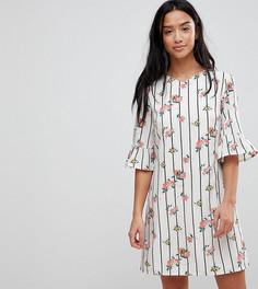 Платье с цветочным принтом и оборками на рукавах Yumi Petite - Белый