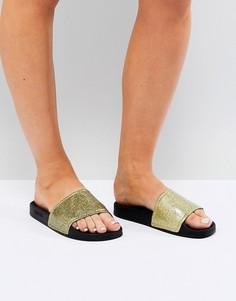 Золотистые сандалии с блестками Slydes - Золотой
