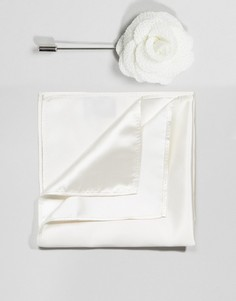Булавка на лацкан с цветком и платок для пиджака Gianni Feraud - Белый