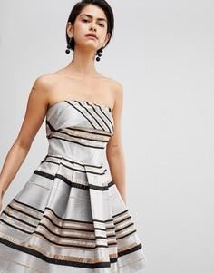 Платье мини в полоску Forever Unique - Золотой