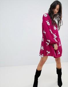 Платье с цветочным принтом Free People Emma - Фиолетовый