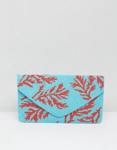Клатч синего цвета с бисером Clutch Me By Q - Синий