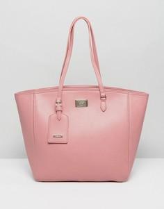 Большая розовая сумка-шоппер на молнии Marc B - Розовый