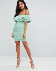 Бандажное платье с открытыми плечами и оборками Forever Unique - Зеленый