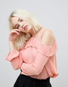 Кружевная блузка с открытыми плечами и оборкой Hazel - Розовый