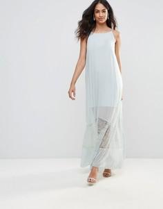 Платье макси с кружевом BCBG - Синий