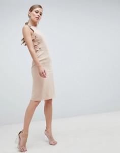 Платье миди с отделкой сбоку Forever Unique - Бежевый