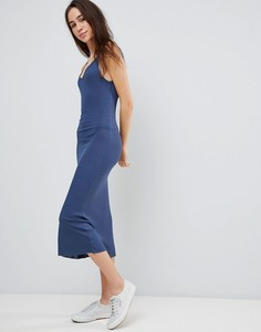 Платье миди в рубчик с глубоким вырезом на спине Brave Soul Ella - Синий