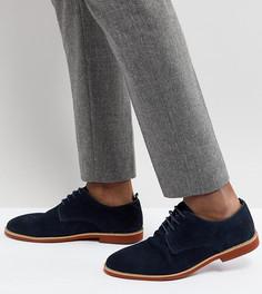 Темно-синие замшевые туфли дерби для широкой стопы Silver Street - Синий