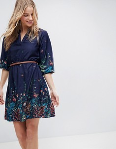 Платье с принтом, поясом и рукавами 3/4 Yumi - Темно-синий