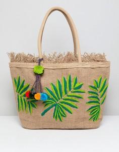 Структурированная пляжная сумка с ручной вышивкой America & Beyond - Мульти