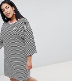Платье-футболка в полоску с расклешенными рукавами и вышивкой Chorus Plus - Черный