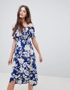 Платье миди с открытыми плечами и сборками Ax Paris - Синий