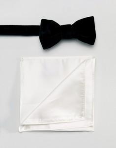 Черный бархатный галстук-бабочка и белый платок для нагрудного кармана Devils Advocate - Черный Gianni Feraud