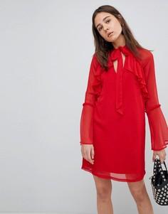 Свободное платье с бантом и оборками Neon Rose - Красный
