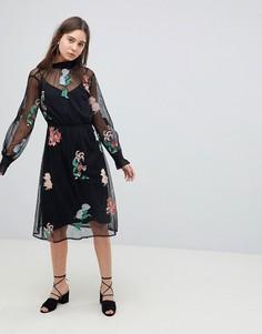 Сетчатое платье миди с цветочной отделкой Neon Rose - Черный