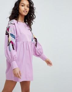 Платье мини с цветочным принтом Free People - Фиолетовый