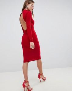Платье миди с открытой спиной и высоким воротом Club L - Красный