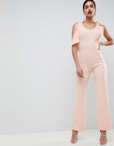 Комбинезон из крепа с бантиками на плечах Club L - Розовый