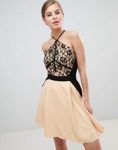 Платье мини с кружевом Little Mistress - Бежевый