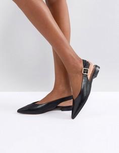Туфли на плоской подошве с острым носком и ремешком на пятке Carvela - Черный