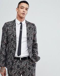 Приталенный пиджак с цветочным принтом Devils Advocate - Черный
