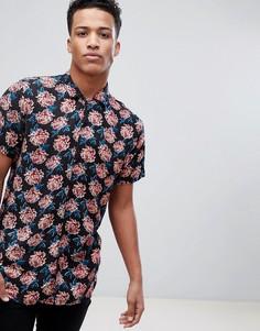 Рубашка с отложным воротником, короткими рукавами и цветочным принтом Brave Soul - Темно-синий