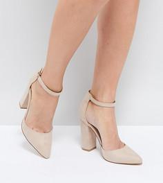Туфли на блочном каблуке с острым носком Truffle Collection - Бежевый