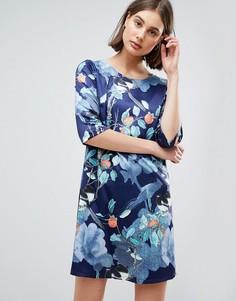 Цельнокройное платье с цветочным принтом Lavand - Темно-синий