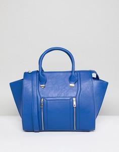 Синяя большая сумка-тоут с молниями Yoki Fashion - Синий
